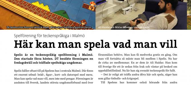 Dövas Tidning skriver om oss.